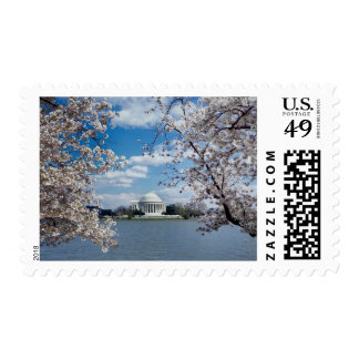 Thomas Jefferson Memorial with Cherry Blossoms Postage Stamp
