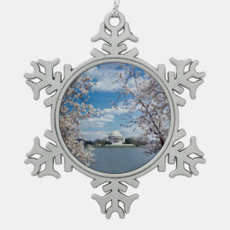 Thomas Jefferson Memorial with Cherry Blossoms Snowflake Pewter Christmas Ornament