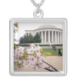 Thomas Jefferson Memorial with cherry blossoms Square Pendant Necklace