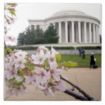 Thomas Jefferson Memorial with cherry blossoms Tile