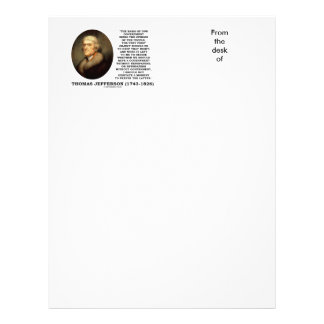 Thomas Jefferson Opinion Newspapers Without Gov't Personalized Letterhead