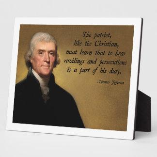 Thomas Jefferson Patriot Quote Plaque
