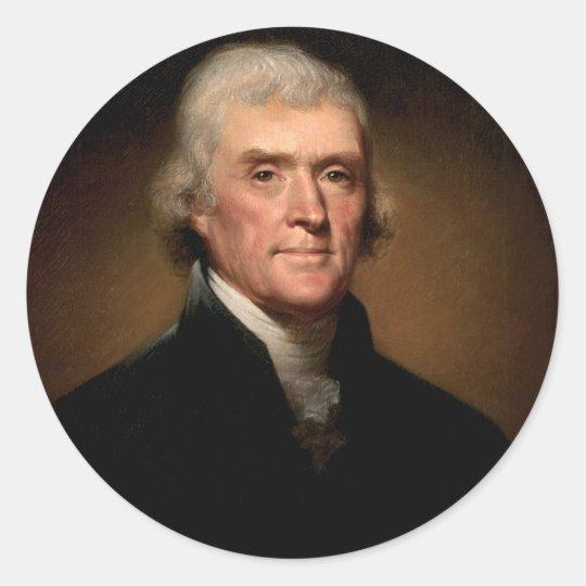 Thomas Jefferson Pegatina Redonda