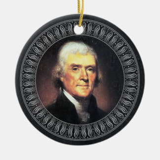 Thomas Jefferson Portrait and Quote - Double-sided Double-Sided Ceramic Round Christmas Ornament