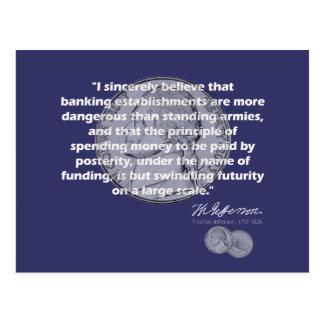 Thomas Jefferson Quote - Banking Establishment Postcard