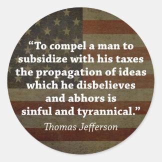 Thomas Jefferson Quote Classic Round Sticker