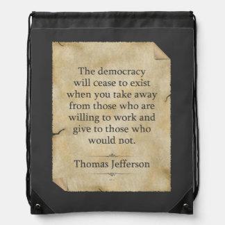 Thomas Jefferson Quote Drawstring Bag