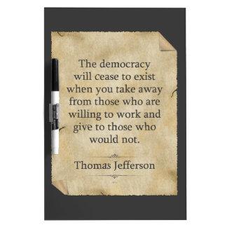 Thomas Jefferson Quote Dry Erase Board