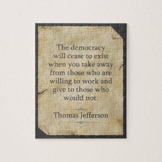Thomas Jefferson Quote Jigsaw Puzzle