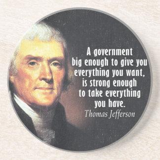 Thomas Jefferson Quote on Big Government Beverage Coaster