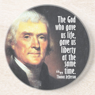 Thomas Jefferson Quote on God and Liberty Drink Coaster