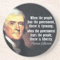 Thomas Jefferson Quote on Liberty Coaster