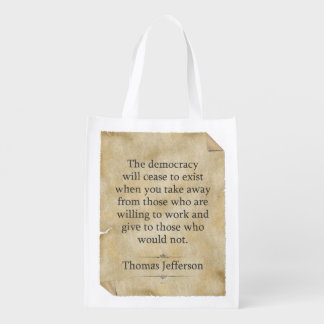 Thomas Jefferson Quote Reusable Grocery Bag