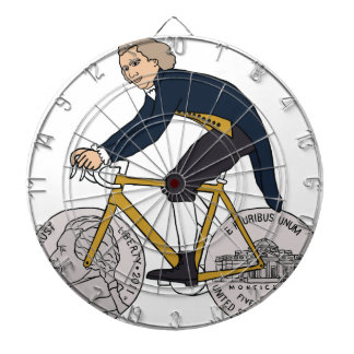 Thomas Jefferson Riding Bike W/ Nickel Wheels Dartboard