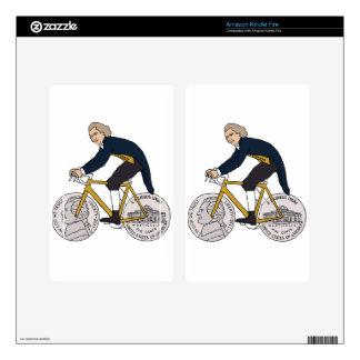 Thomas Jefferson Riding Bike W/ Nickel Wheels Decals For Kindle Fire