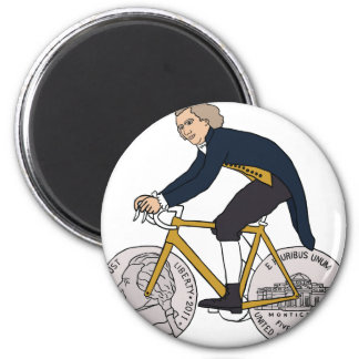 Thomas Jefferson Riding Bike W/ Nickel Wheels Magnet