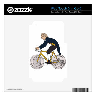 Thomas Jefferson Riding Bike W/ Nickel Wheels Skin For iPod Touch 4G