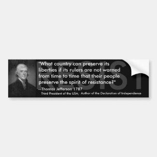 Thomas Jefferson SE OPONE Pegatina Para Auto