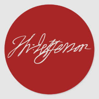 Thomas Jefferson Signature Classic Round Sticker