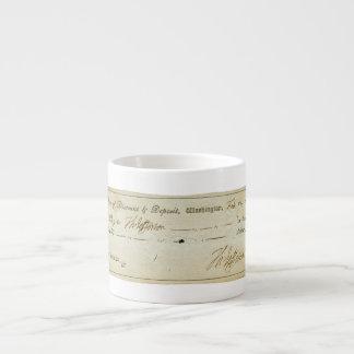 Thomas Jefferson Signature on Bank Check 1809 Espresso Cup