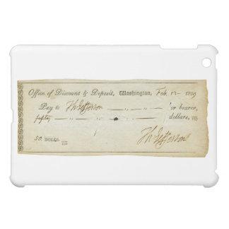 Thomas Jefferson Signature on Bank Check 1809 iPad Mini Cases