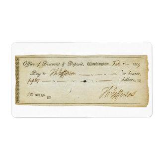 Thomas Jefferson Signature on Bank Check 1809 Label