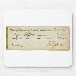 Thomas Jefferson Signature on Bank Check 1809 Mouse Pad