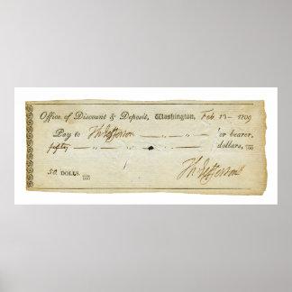 Thomas Jefferson Signature on Bank Check 1809 Print