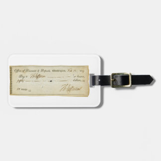 Thomas Jefferson Signature on Bank Check 1809 Tag For Luggage