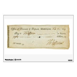 Thomas Jefferson Signature on Bank Check 1809 Wall Skins