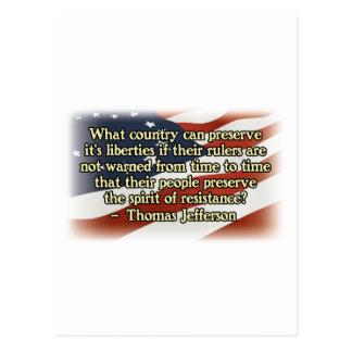 Thomas Jefferson Spirit of Resistance Postcard