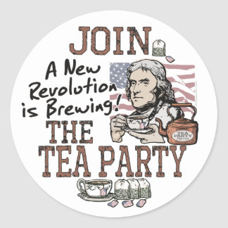 Thomas Jefferson Tea Party Shirts and Gifts Round Stickers