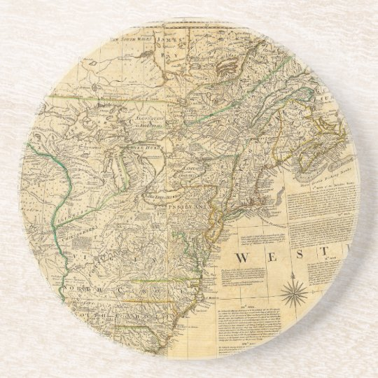 Thomas Jefferys' 1776 American Atlas Map Coaster
