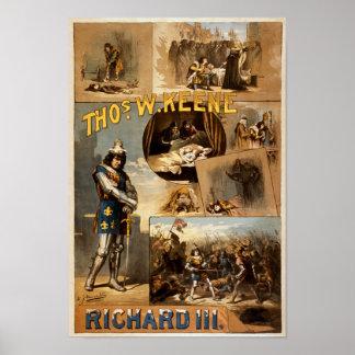 Thomas Keene in Richard III Vintage Theater Poster
