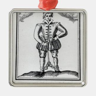 Thomas Nashe, de un folleto, pub. en 1597 Adorno Navideño Cuadrado De Metal