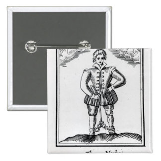Thomas Nashe , from a pamphlet, pub. in 1597 2 Inch Square Button