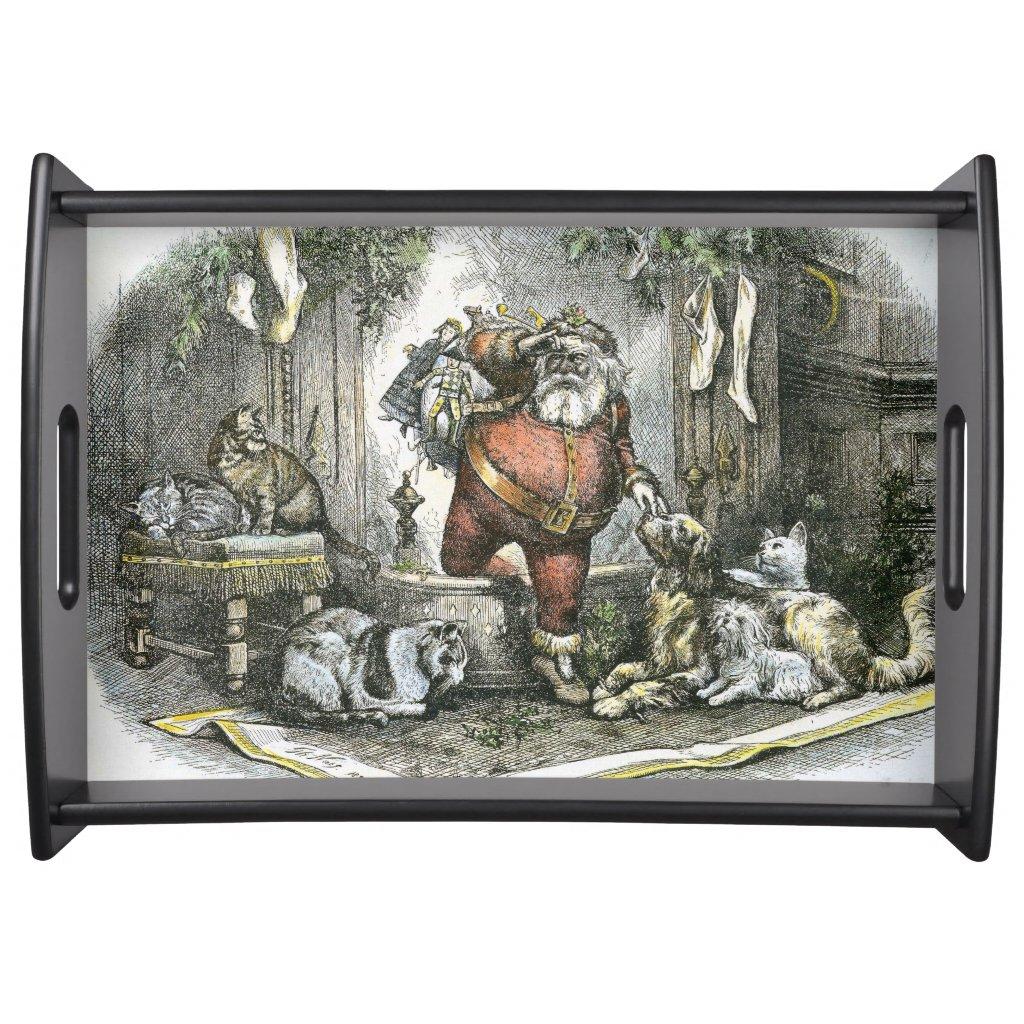 Thomas Nast Victorian Santa Claus and Pets Serving Tray