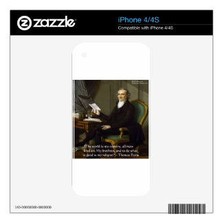 """Thomas Paine """"My Brethren"""" Quote Gifts & Cards iPhone 4S Skin"""
