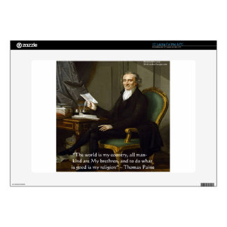 """Thomas Paine """"My Brethren"""" Quote Gifts & Cards Laptop Skins"""