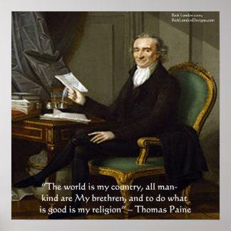 "Thomas Paine ""My Brethren"" Wisdom Quote Poster"
