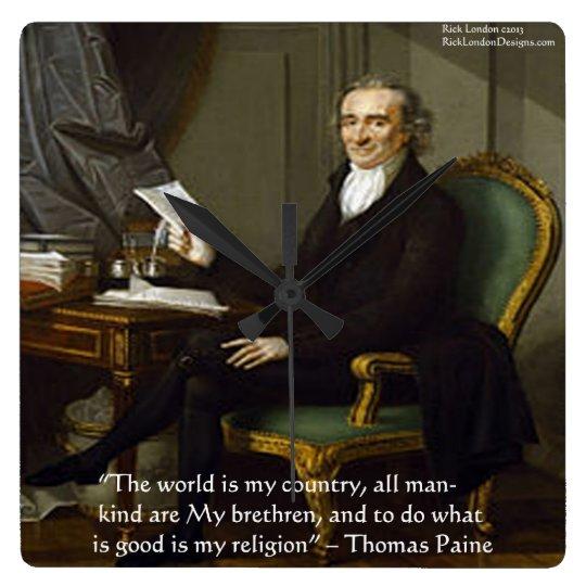 "Thomas Paine ""My Religion"" Wisdom Quote Wall Clock"