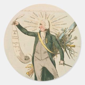Thomas Paine Political Cartoon Classic Round Sticker
