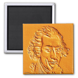 Thomas Paine portrait in gold 2 Inch Square Magnet