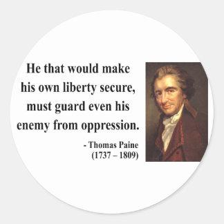 Thomas Paine Quote 3b Classic Round Sticker