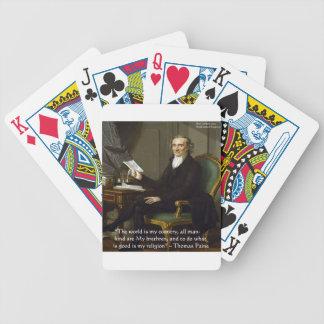 """Thomas Paine regalos y tarjetas de la cita de """"mis Baraja De Cartas Bicycle"""