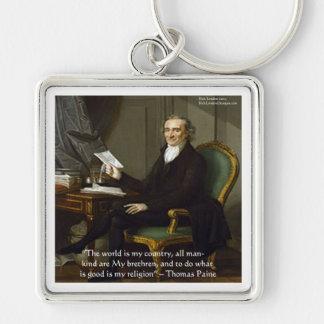 """Thomas Paine regalos y tarjetas de la cita de """"mis Llavero Cuadrado Plateado"""