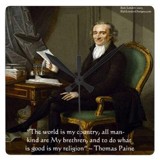 Thomas Paine reloj de pared de la cita de la
