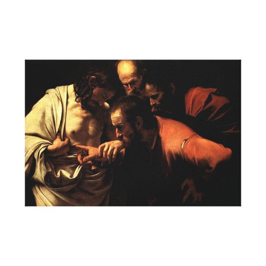 Thomas put his finger in Jesus' pierced side Canvas Print