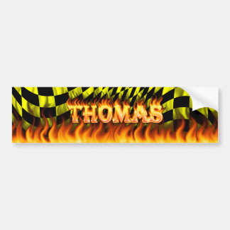 Thomas real fire and flames bumper sticker design