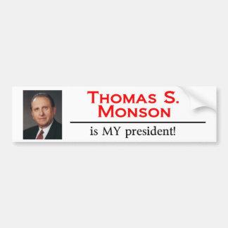 ¡Thomas S. Monson es MI presidente! Pegatina Para Auto